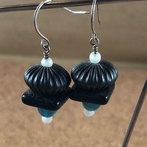 Black, teal & white handmade earrings OOAK